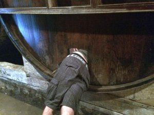 Inšpekcia dubového sudu na Calvados